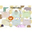 school timetable background for students or pupils vector image vector image