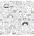 seamless faces people pattern black and vector image vector image