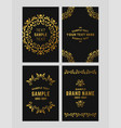 set of floral logo frame and monogram golden on vector image vector image