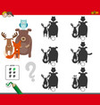 shadows activity game with animal characters vector image