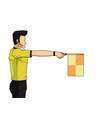 soccer linesman referee wave flag to point an vector image