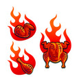 spicy chicken grilled on fire vector image vector image