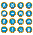 train railroad icons set simple style vector image vector image