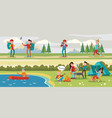 traveling camping horizontal banners vector image vector image