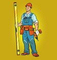 working with a drill home repair vector image