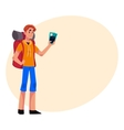 Young traveler backpacker hitchhiker holding vector image vector image