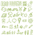 eco icons hand draw 2 vector image