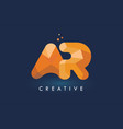 ar letter with origami triangles logo creative vector image vector image