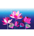 beautiful natural with pink lotuses vector image vector image