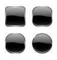 black glass buttons shiny geometric 3d icons vector image
