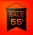 black pennant with inscription halloween sale vector image
