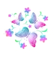 butterflies and flowers watercolor vector image