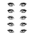 cartoon character female eyes vector image