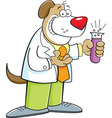 Cartoon dog holding a test tube vector image vector image
