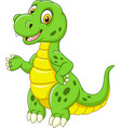 cartoon funny green dinosaur vector image vector image