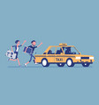 chasing a taxi cab vector image
