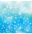 closeup snowfall on blue sky backdrop vector image vector image