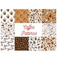 Coffee drink with dessert seamless patterns set vector image vector image