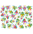 colorful painting hands seamless background vector image vector image