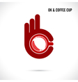 Creative hand and coffee cup abstract logo design vector image