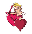 cupid on hearts with arch vector image vector image