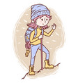 cute girl with hiking equipment vector image