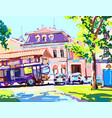 digital painting of sunny day in the city summer vector image