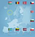 Eu countries flag pins over european map
