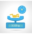 Flat color icon for weighing a newborn vector image vector image
