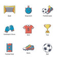 football prize icons set cartoon style vector image