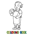 Funny nanny with baby Coloring book vector image vector image