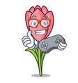 gamer crocus flower mascot cartoon vector image vector image