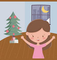 girl with tree gift boxes living room night window vector image
