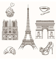 Hand drawn Paris symbols vector image vector image