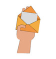 hand with mail open vector image