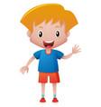 happy boy waving hand vector image