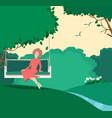 happy graceful woman sitting in a summer garden vector image vector image