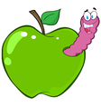 Happy Worm In Green Apple vector image