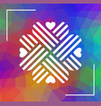 heart shaped cloverleaf ornament over polygonal vector image vector image