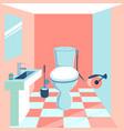 interior toilet room in minimalist style cartoon vector image