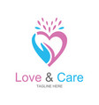 love and care logo vector image vector image