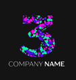 number three with pink purple green particles vector image