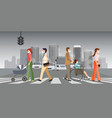 people wearing protective face masks and walk on vector image vector image