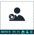 Person lock icon flat vector image vector image