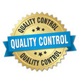 quality control round isolated gold badge vector image