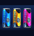 realistic disposable energy drink cans in vector image