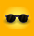 realistic sunglasses isolated on yellow background vector image vector image