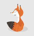 red fox sitting cartoon vector image vector image