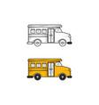 school bus hand drawn sketch and color vector image