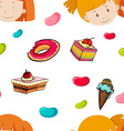 Seamless background of girls and candy vector image vector image